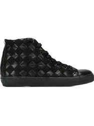 Leather Crown Woven Hi Top Sneakers Black