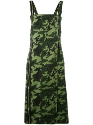 Each X Other Military Camouflage Dress Women Cotton M Green