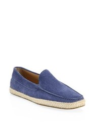 Saks Fifth Avenue Collection Leather Espadrilles Dark Blue
