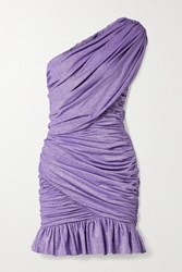 Redemption One Shoulder Ruched Metallic Stretch Jersey Mini Dress Lavender