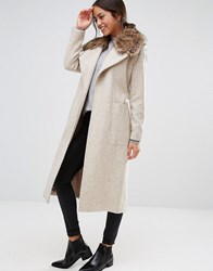 New Look Faux Fur Belted Maxi Coat Oatmeal Beige