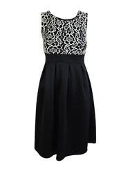 Feverfish Lace Contrast Pleated Flared Dress Black