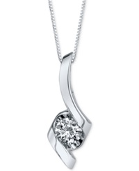 Sirena Diamond Twist Pendant Necklace 1 3 Ct. T.W. In 14K White Gold
