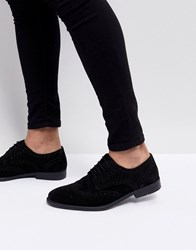 Asos Derby Brogue Shoes In Black Suede