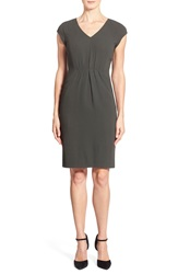 Classiques Entier V Neck Double Cloth Sheath Dress Olive Peat