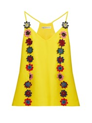 Mary Katrantzou Osbourne Floral Lace Embellished Crepe Cami Top Yellow Multi
