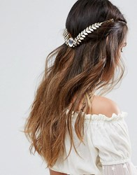 Asos Jewel Leaf Back Crown Headband Gold