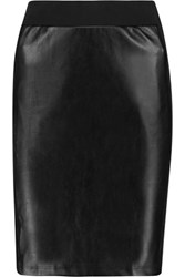 Splendid Faux Leather And Stretch Cotton And Modal Blend Jersey Mini Skirt Black