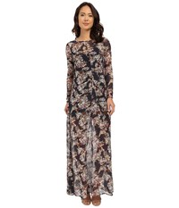 Brigitte Bailey Marche Floral Sheer Maxi W Slip Navy Floral Women's Dress