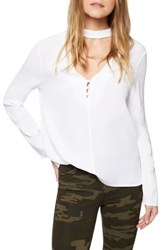 Sanctuary Women's Raven Choker Top Blouse White