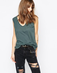 The Furies Poseur Deep V Loose Fit Tank Top Petrolgreen