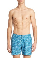 Saks Fifth Avenue Paint Plaid Swim Trunks Sea Water