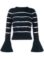 Self Portrait Flared Cuff Striped Pattern Jumper 60