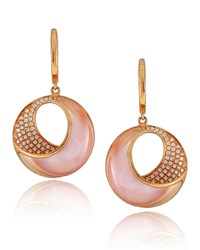 Small Pink Mother Of Pearl And Diamond Venus Twist Earrings Frederic Sage Green
