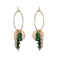 Nadia Minkoff Hoop Cluster Semi Precious Earring Gold With Malachite Green Gold