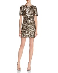 French Connection Leo Cheetah Print Sequined Dress Compare At 348 Gold Multi