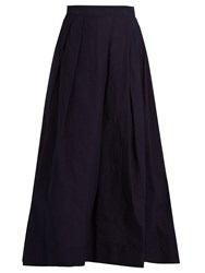 Yohji Yamamoto Regulation Pleated A Line Oxford Cotton Skirt Indigo