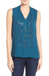 Petite Women's Halogen Pleat V Neck Top Teal Abyss Sequin Pattern