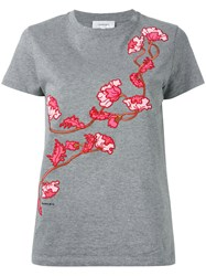 Carven Floral Embroidered T Shirt Grey