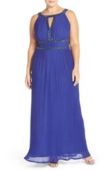 Plus Size Women's Sangria Beaded Neck Pleat Jersey A Line Gown