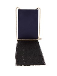 Galvan Fringed Satin Shoulder Bag Navy