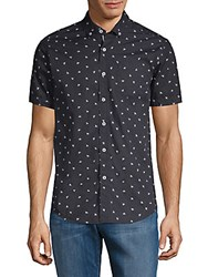Report Collection Bumble Bee Print Cotton Button Down Shirt Black