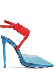 Off White 110Mm Zip Tie Plexi And Leather Pumps Blue Red