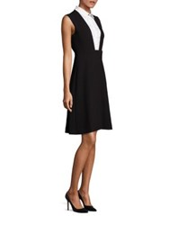Lela Rose Bib Detail Sleeveless Dress Black