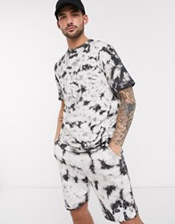 Native Youth Co Ord Oversized T Shirt In Black Tie Dye Wash