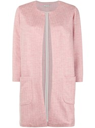 Circolo 1901 Textured Single Breasted Coat Pink And Purple