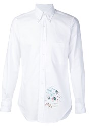 Thom Browne Button Down Embroidered Shirt White