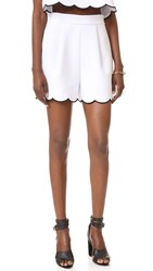 Kendall Kylie Scallop Shorts Bright White Black
