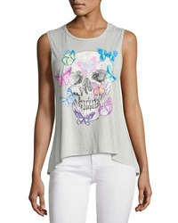 Chaser Butterfly Skull Graphic Tank Light Gray