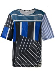 Pierre Louis Mascia Multi Stripe T Shirt Women Cotton L Blue