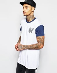 Sik Silk Siksilk Contrast Sleeve Longline T Shirt With Elongated Drawstring White