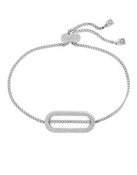 Cole Haan Metal Basics Rhodium Plated Elongated Oval Pull Tie Bracelet Silver