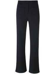 Helmut Lang Ribbed 'Flare' Trousers Grey