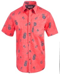 Univibe Stark Pineapple Print Shirt Faded Red