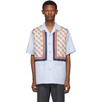 Gucci Blue Silk Bowling Shirt