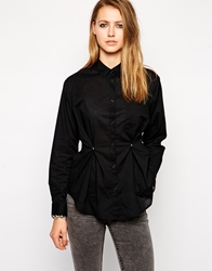 Cheap Monday Long Sleeve Shirt With Fold Detail Black