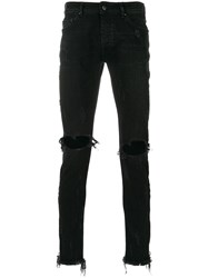 Palm Angels Ripped Knee Skinny Jeans Cotton Polyurethane Polyester Black