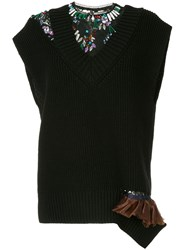 Kolor Knitted Lace Insert Top Black