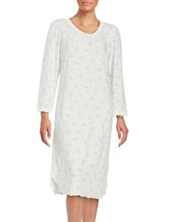 Miss Elaine Floral Print Fleece Nightgown Blue Floral