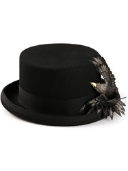 Ca4la Bird Embellished Top Hat Black