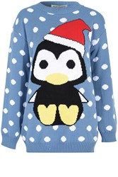 Alice And You Penguin Christmas Jumper Multi Coloured