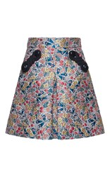 Marco De Vincenzo Mini Flower Brocade Skirt Ivory