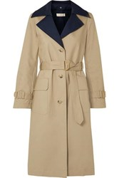 Tory Burch Ashby Two Tone Cotton Canvas Trench Coat Beige
