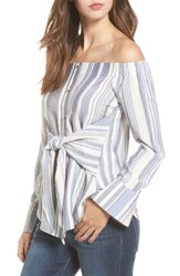 Love Fire Women's Tie Front Stripe Off The Shoulder Top Blue White