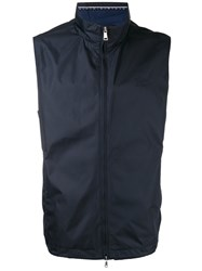 Paul And Shark Roll Neck Waistcoat Blue