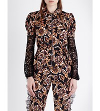 Rodarte Floral Print Satin Shirt Black Orange